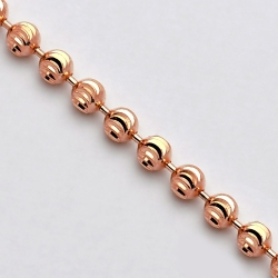14K Rose Gold Army Moon Cut Ball Mens Bead Chain 4 mm