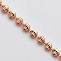 14K Rose Gold Army Moon Cut Ball Mens Bead Chain 4 mm