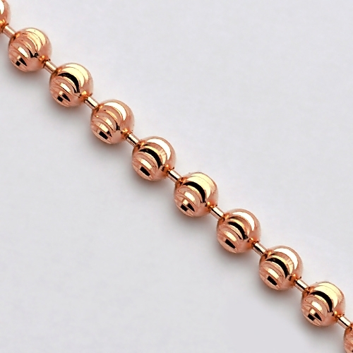 3c45a8bc58a51 14K Rose Gold Moon Cut Beaded Mens Army Chain 3 mm