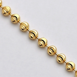 Solid 14K Yellow Gold Moon Cut Bead Mens Army Chain 2.5mm Italian