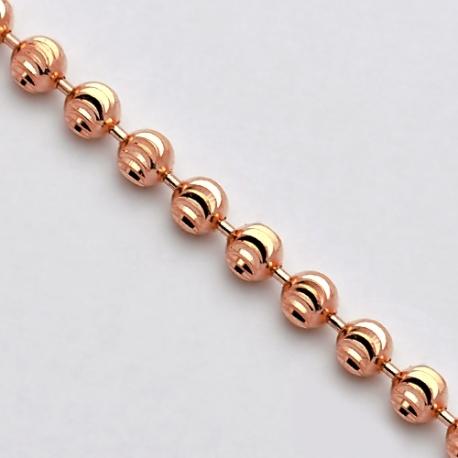 Solid 14K Rose Gold Moon Cut Bead Mens Army Chain 2.5mm Italian