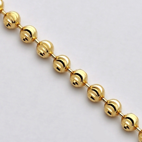 Solid 14K Yellow Gold Moon Cut Beaded Ball Mens Army Chain 3mm