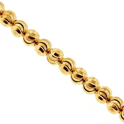 Italian 10K Yellow Gold Moon Cut Bead Mens Necklace 4 mm