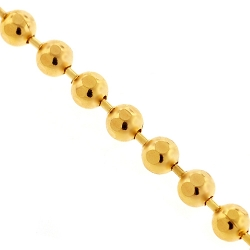 Italian 10K Yellow Gold Diamond Cut Bead Mens Army Chain 3 mm