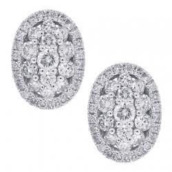 Womens Diamond Cluster Oval Stud Earrings 18K White Gold 1.01 ct