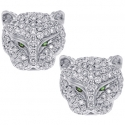 18K White Gold 1.10 ct Diamond Panther Womens Stud Earrings