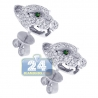 Womens Diamond Panther Cat Stud Earrings 18K White Gold 1.10 ct