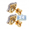 Womens Diamond Panther Cat Stud Earrings 18K Yellow Gold 1.10 ct
