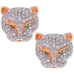 Womens Diamond Panther Head Stud Earrings 18K Rose Gold 1.10 ct