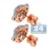 Womens Diamond Panther Head Stud Earrings 18K Rose Gold 1.10 ct