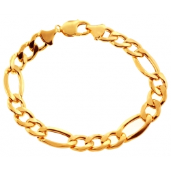 Real 10K Yellow Gold Hollow Figaro Link Mens Bracelet 11mm 9.25""