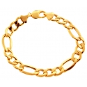 10K Yellow Gold Figaro Hollow Link Mens Bracelet 11 mm 9.25 Inch
