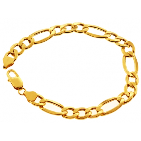 Real 10K Yellow Gold Hollow Figaro Link Mens Bracelet 8mm 8.5""