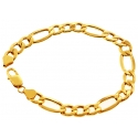 10K Yellow Gold Figaro Link Mens Bracelet 8 mm 8 1/2 Inches