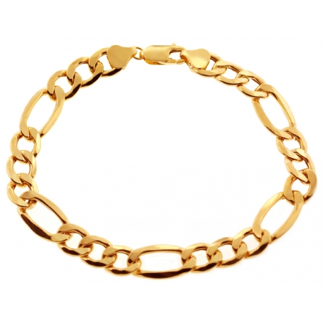 Real 10K Yellow Gold Figaro Cuban Link Mens Bracelet 8mm 9""