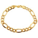 10K Yellow Gold Figaro Link Mens Bracelet 8 mm 9 Inches