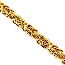 10K Yellow Gold Classic Byzantine Link Mens Chain 4 mm