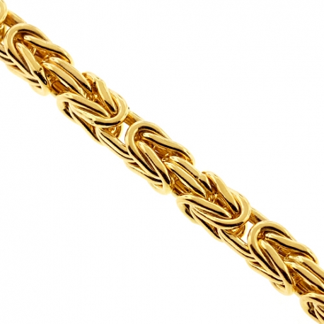 Italian 10K Yellow Gold Classic Byzantine Mens Chain 5 mm