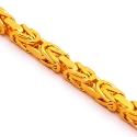 Italian 14K Yellow Gold Solid Byzantine Mens Chain 3.5 mm