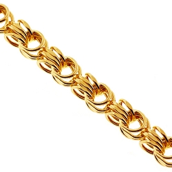 10K Yellow Gold Byzantine Rolo Link Mens Chain 3 mm