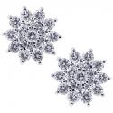 18K White Gold 1.00 ct Diamond Flower Womens Stud Earrings