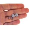 Womens Diamond Flower Stud Earrings 18K White Gold 1.00 ct