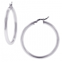 Sterling Silver Polished Round Hoops Womens Earrings 3 mm