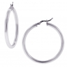 Polished Sterling Silver Womens Round Hoop Earrings 3 mm 3 inch