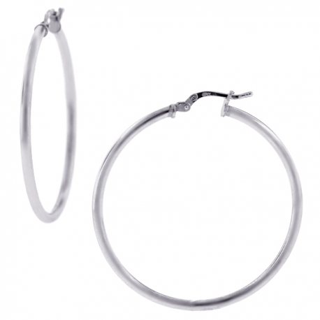 Polished Sterling Silver Womens Round Hoop Earrings 2 mm 3 inch
