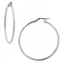 925 Sterling Silver Smooth Round Womens Hoop Earrings 2 mm
