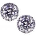 18K White Gold 1.20 ct Diamond Womens Stud Earrings 6 mm