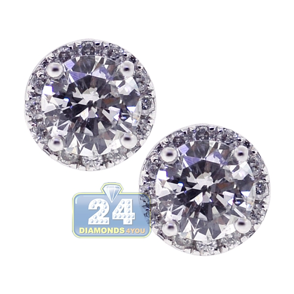 Womens Iced Out Diamond Stud Earrings 18K White Gold 1.20