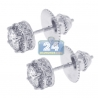 Womens Iced Out Diamond Stud Earrings 18K White Gold 1.20 ct 6 mm