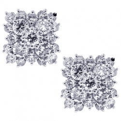 Womens Diamond Cluster Square Stud Earrings 18K White Gold 0.90 ct