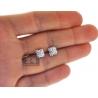 Womens Diamond Cluster Square Stud Earrings 18K White Gold 0.90 ct