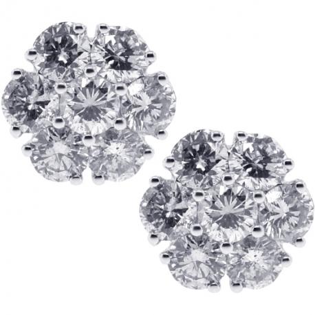 Womens Diamond Flower Stud Earrings 18K White Gold 2.33 ct 10 mm