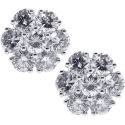 18K White Gold 2.33 ct Diamond Flower Womens Stud Earrings 10 mm
