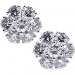 Womens Diamond Flower Stud Earrings 18K White Gold 1.63 ct 8 mm
