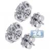 Womens Diamond Flower Stud Earrings 18K White Gold 1.63 ct 8 mm