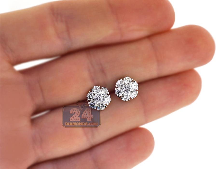 5b98dd005aa1f 18K White Gold 1.63 ct Diamond Flower Womens Stud Earrings 8 mm