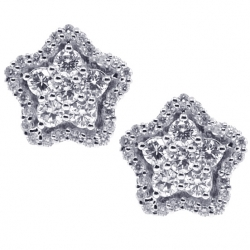 Womens Diamond Cluster Star Stud Earrings 18K White Gold 0.91 ct