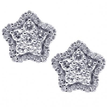 Womens Diamond Cluster Star Stud Earrings 18K White Gold 0.91 ct