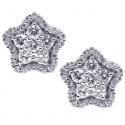 18K White Gold 0.91 ct Diamond Star Womens Stud Earrings