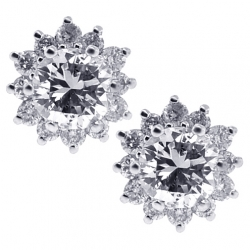 Womens Diamond Flower Stud Earrings 18K White Gold 0.95 ct 7 mm