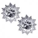 18K White Gold 0.95 ct Diamond Flower Womens Stud Earrings
