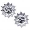 Womens Diamond Flower Stud Earrings 18K White Gold 0.95 ct 7 mm