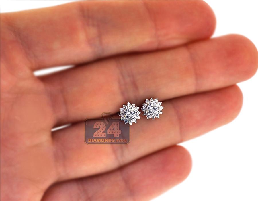 18k White Gold 0 95 Ct Diamond Flower Womens Stud Earrings