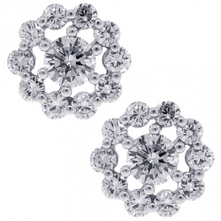 Womens Diamond Open Flower Studs Earrings 18K White Gold 1.25 ct