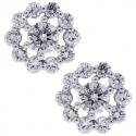 18K White Gold 1.25 ct Diamond Womens Flower Stud Earrings