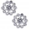 Womens Diamond Open Flower Studs Earrings 18K White Gold 1.25 ct